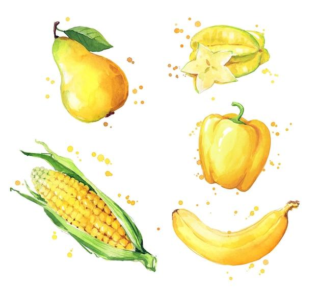黄色い食品、水彩画の果物と野菜のベクトルの品揃え
