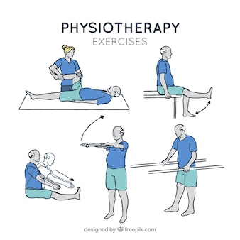 Assortment of rehabilitation exercises in hand-drawn style