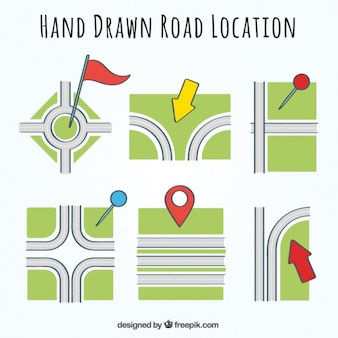 Assortment of road location with colorful pointers