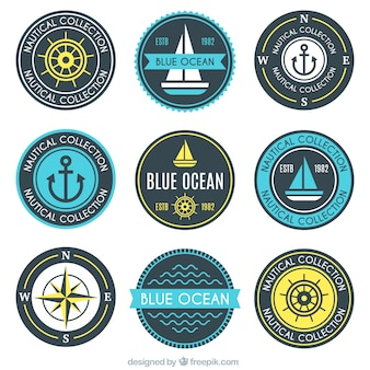 Assortment of round nautical badges