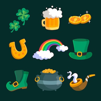Assortment of st. patrick's day elements in flat design