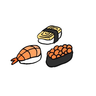 Assortment of sushi japanese food illustration