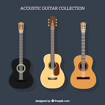 Assortment of three acoustic guitars in flat design
