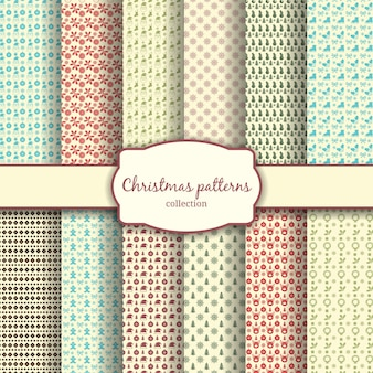 Assortment of traditional christmas patterns with label