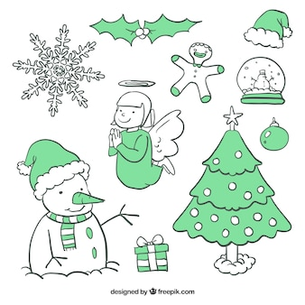 Assortment of traditional hand drawn christmas elements