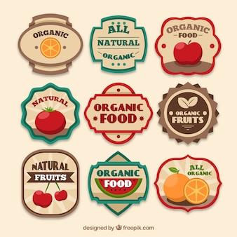 Assortimento di etichette di prodotti biologici d'epoca Vettore gratuito