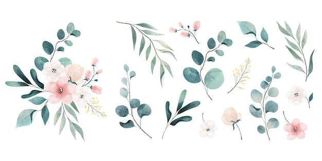 Assortment of watercolor leaves and flowers