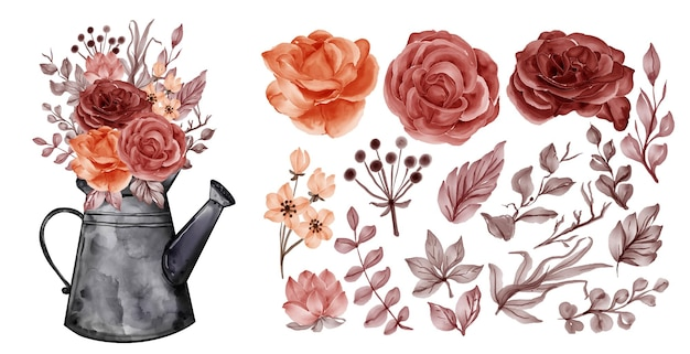 Assortment of watercolor leaves with autumn fall rose