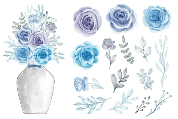 Assortment of watercolor leaves with flowers blue