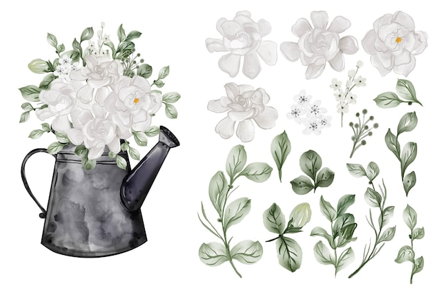 Assortment of watercolor leaves with gardenia white flower