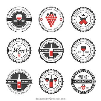 Assortment of wine retro stickers