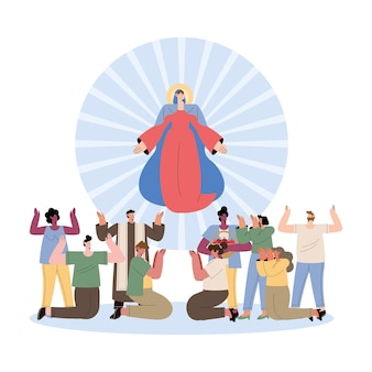 Assumption of mary and women and men praising