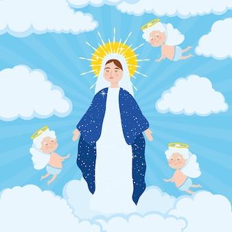 周りに天使がいる聖母被昇天