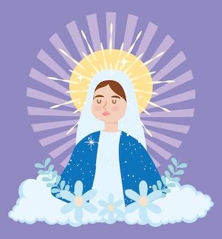 祝福された処女メアリーのイラストの仮定