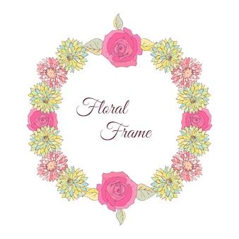 アスターとバラの花が流れる。ラウンドフレームカード