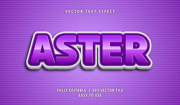 Aster text effect, editable text style Premium Vector