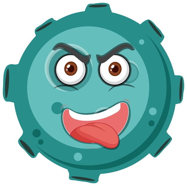 Asteroid cartoon character with crazy face expression on white background