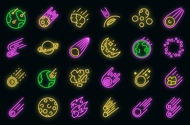 Набор иконок астероидов вектор неон