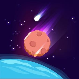우주에서 소행성. 하늘 어두운 종말 개념 큰 스타 혜성 빛나는 배경에서 운 석.