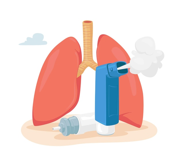 Asthma disease concept. human lungs and inhaler for breathing