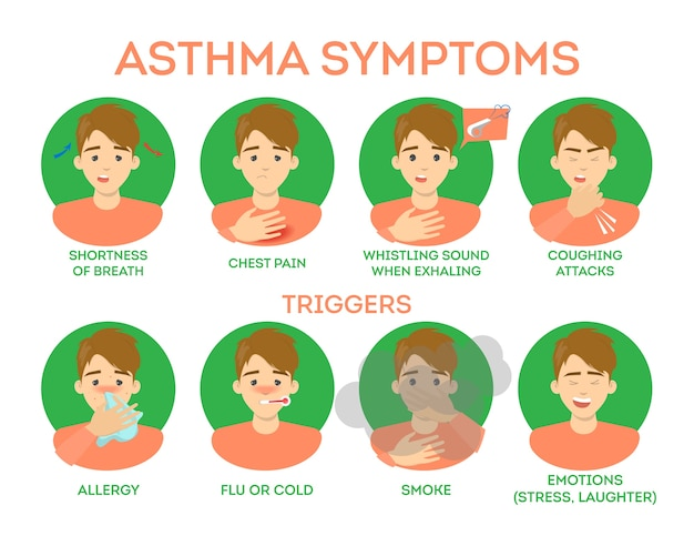 Asthma symptoms infographic. breath difficulty and pain chest, dangerous disease. allergic reaction as a trigger.   illustration in cartoon style