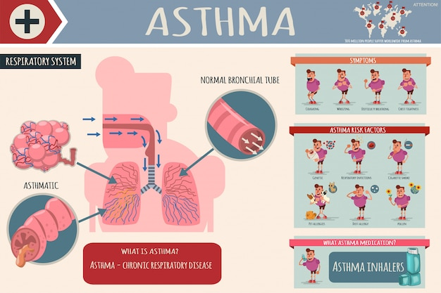 Asthma symptoms, risk factors and medications medical cartoon infographics