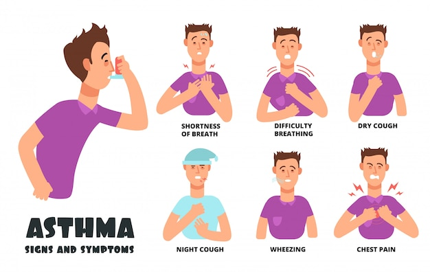 Asthma symptoms with coughing cartoon person.