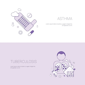 Asthma and tuberculosis diseases concept template banner