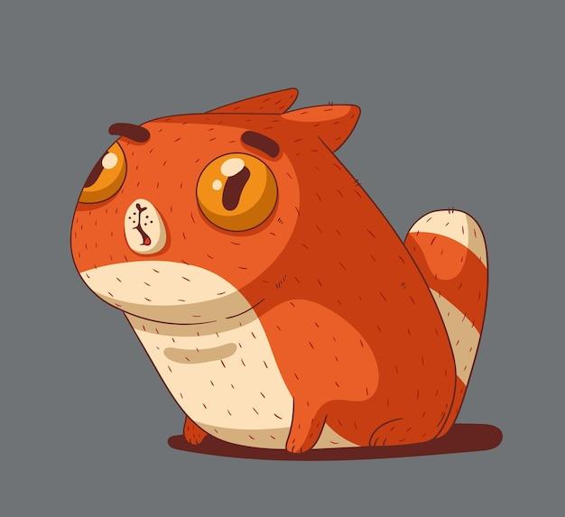 놀란 눈을 가진 생강 고양이는 충격적인 것을 쳐다본다