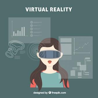 Удивленный девушка с виртуальной реальностью