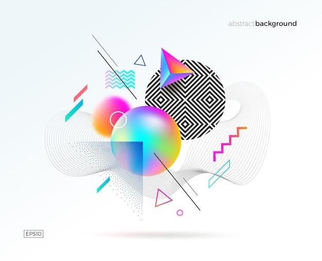 さまざまな幾何学的な流体の線形と点描の形をした astract デザイン