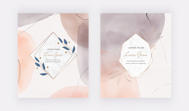 Astract watercolor covers with lines and marble frames