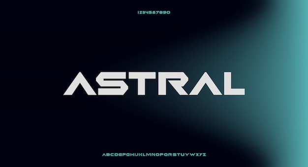 Astral, an abstract futuristic alphabet font with technology theme. modern minimalist typography design