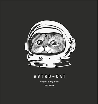 Astrocat slogan with  cute cat in astronaut helmet illustration