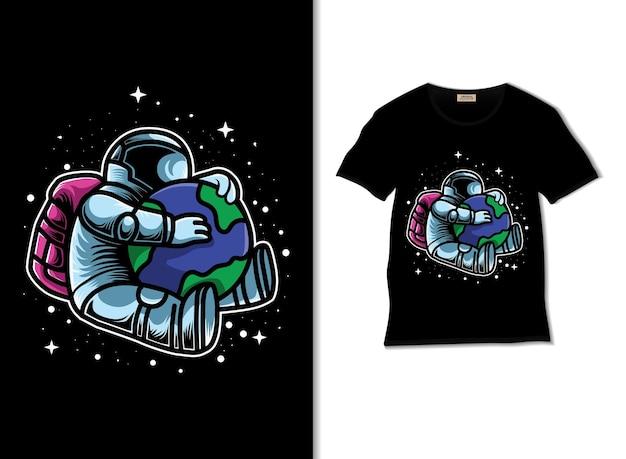Astrokids는 티셔츠 디자인으로 지구 그림을 저장합니다.