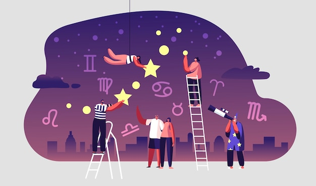 Astrologer watching at night starry sky through telescope. cartoon flat illustration