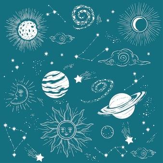 星、惑星、太陽の占星術マップ。星空に描かれた天の川と太陽系。星座のあるプラネタリウム、神秘的な占星術の眺め。フラットで天体ベクトル