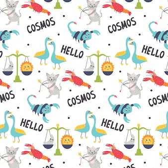 Astrological seamless pattern zodiac signs