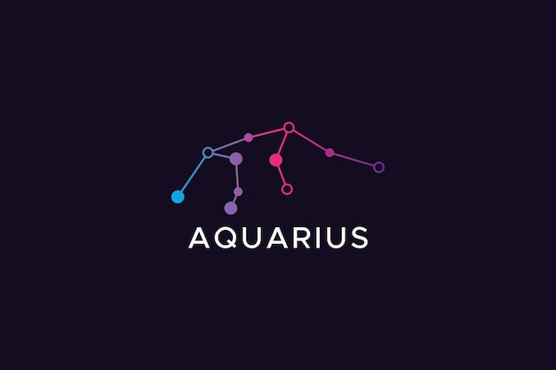 Astrological sign gradient color aquarius logo abstract