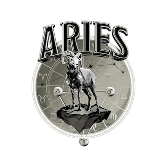 Astrological vector  hand drawn romantic beautiful line art of zodiac aries illustration