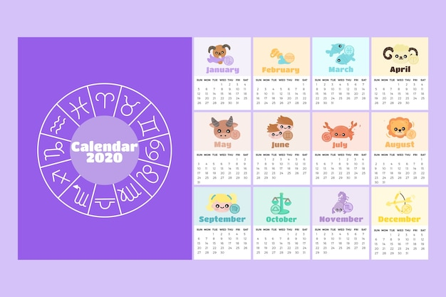 Astrology 2020 calendar template