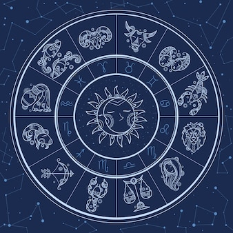 Astrology circle. magic infographic with zodiac symbols gemini horoscopes wheel fish gemini aries lion template