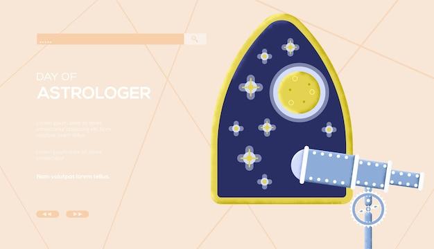 占星術の家のコンセプトのチラシ、ウェブバナー、uiヘッダー、サイトに入る。木目テクスチャとノイズ効果。