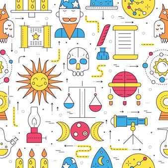 Набор иллюстраций иконок дом астрологии. гороскоп предметы концепции.