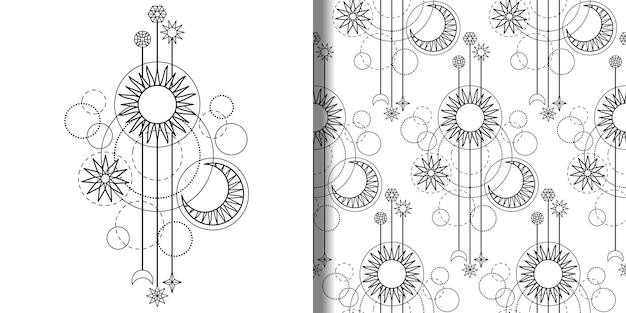 점성술 현대 인쇄 및 원활한 패턴 세트