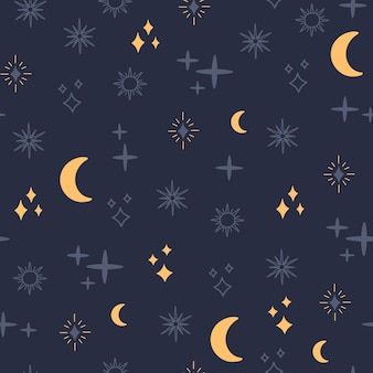 占星術のシームレスなパターン、天の月と星、シンプル。
