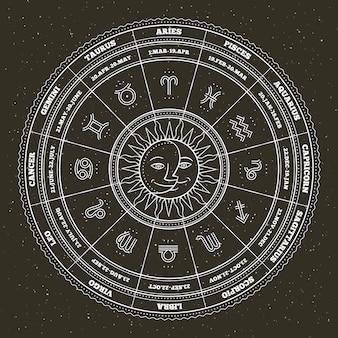 Символы астрологии и мистические знаки. зодиакальный круг со знаками гороскопа. тонкая линия .