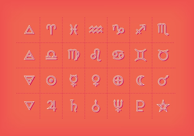 Astrology symbols and mystic signs. set of astrological graphic  elements.  icons collection.