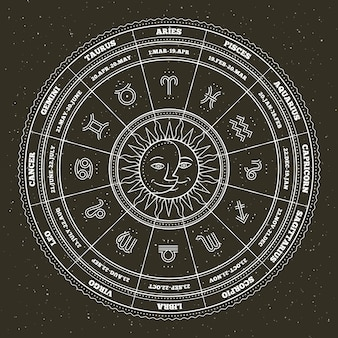 Astrology symbols and mystic signs. zodiac circle with horoscope signs. thin line  .