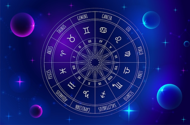 Astrology wheel with zodiac signs on outer space background. mystery and esoteric.